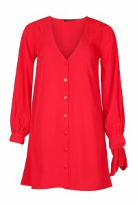 Womens Long Sleeve V Neck Button Shift Dress - red - 16, Red