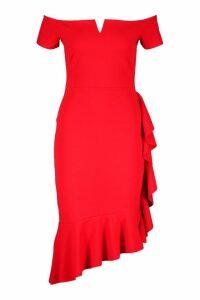Womens Bardot V Bar Ruffle Side Midi Dress - red - 14, Red