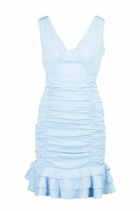 Womens Ruched Frill Hem Mini Dress - blue - 14, Blue