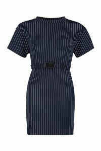 Womens Pinstripe Buckle Detail Belted Shift Dress - navy - 14, Navy