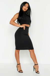 Womens Rib High Neck Top & Midi Skirt Co-ord - black - 14, Black