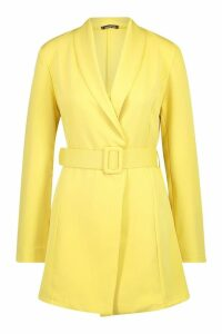 Womens Belted Blazer Dress - yellow - 12, Yellow