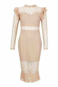 Womens Long Sleeve All Over Lace Midi Dress - Beige - M, Beige