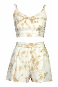 Womens Tie Dye Crop & Short Co-Ord - cream - 14, Cream