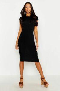 Womens Cap Sleeve Jersey Bodycon Midi Dress - black - 12, Black