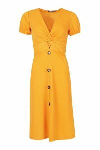 Womens Button Down Midi Dress - yellow - 10, Yellow