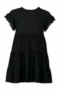 Womens Crinkle Frill Sleeve Tier Smock Dress - black - 14, Black