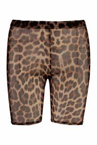 Womens Leopard Mesh Cycling Shorts - multi - 12, Multi