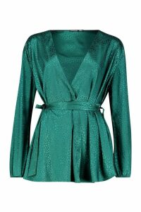 Womens Animal Satin Wrap Blouse - green - 12, Green