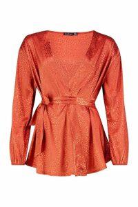 Womens Animal Satin Wrap Blouse - orange - 14, Orange
