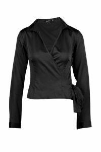 Womens Satin Wrap Tie Detail Shirt - black - 14, Black