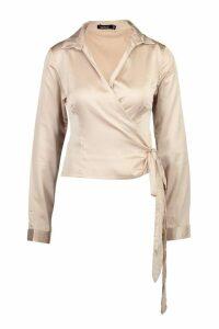 Womens Satin Wrap Tie Detail Shirt - beige - 14, Beige