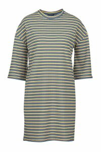 Womens Multi-Colour Stripe Oversized T-Shirt Dress - green - 14, Green