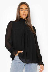 Womens Shirred Neck Cuff Smock Top - black - 12, Black