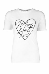 Womens Moi Et Toi Heart T-Shirt - white - M, White