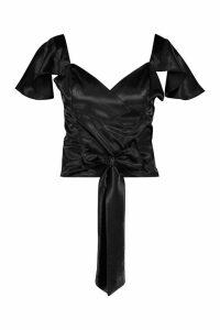 Womens Satin Angel Sleeve Wrap Blouse - black - 14, Black