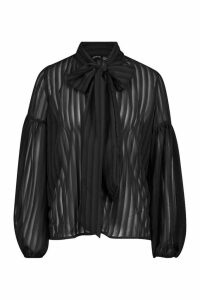 Womens Woven Burn Out Stripe Pussy Bow Blouse - black - 16, Black