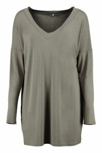 Womens Tall Oversized Long Sleeve Top - green - 18, Green