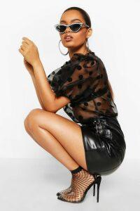 Womens Organza Polka Dot Puff Sleeve Top - black - M, Black