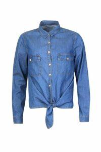 Womens Denim Tie Shirt Top - blue - 16, Blue