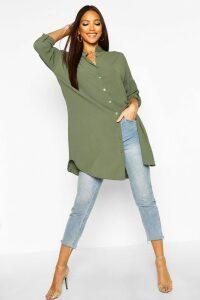 Womens Longline Oversized Sleeve Shirt - green - L, Green