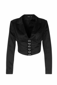 Womens Satin Corset Detail Cropped Blazer - black - 14, Black