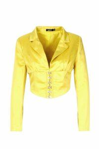 Womens Satin Corset Detail Cropped Blazer - yellow - 14, Yellow