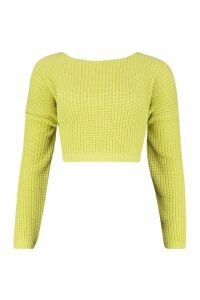 Womens Tall V Back Crop Jumper - soft lime - M, Soft Lime