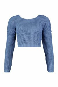 Womens Tall V Back Crop Jumper - slate blue - M, Slate Blue