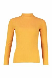 Womens roll/polo neck Rib Knit Jumper - yellow - 14, Yellow
