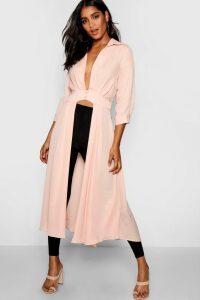 Womens Plunge Neck Split Maxi Shirt - pink - 8, Pink