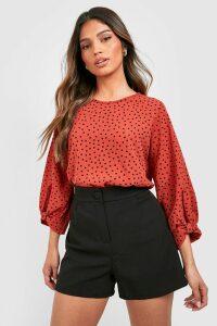 Womens Polka Dot Bow Sleeve Woven Blouse - orange - 12, Orange