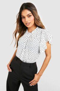 Womens Polka Dot Frill Sleeve Woven Blouse - white - 14, White