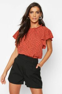 Womens Polka Dot Frill Sleeve Woven Blouse - orange - 14, Orange