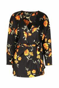 Womens Floral Print Wrap Tie Blouse - black - 12, Black