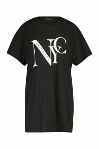 Womens NYC Brooklyn Printed T-Shirt Dress - black - M, Black