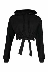 Womens Tie Waist Belted Hoody - black - L, Black