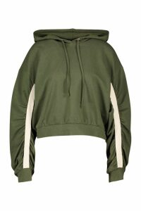Womens Ruched Sleeve Hoody - green - M, Green