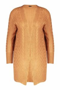Womens Cable Knit Midi Cardigan - beige - XS, Beige