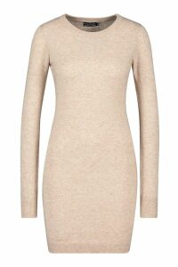 Womens Crew Neck Rib Knit Mini Dress - beige - M, Beige