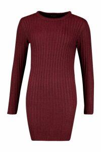 Womens Rib Knit Mini Dress - Red - XS, Red