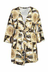 Womens Woven Geo Chain Print Tie Waist Kimono - black - 10, Black