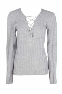 Womens Tall Lace Up Jumper - grey - 16, Grey