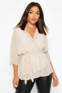 Womens Sheer Stripe Wrap Belted Blouse - cream - 14, Cream