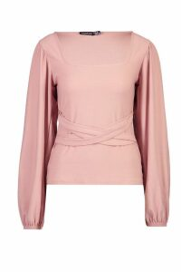 Womens Square Neck Volume Sleeve Tie Waist Blouse - pink - 10, Pink
