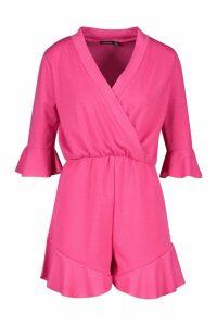 Womens Plain Ruffle Hem Wrap Jersey Playsuit - pink - 16, Pink