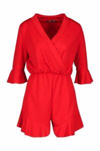 Womens Plain Ruffle Hem Wrap Jersey Playsuit - red - 16, Red