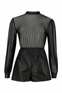 Womens Mesh Balloon Sleeve High Neck Playsuit - black - 10, Black