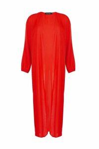 Womens Maxi Balloon Sleeve Kimono - red - S/M, Red