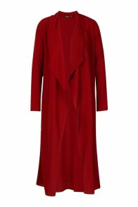 Womens Waterfall Front Kimono - red - S, Red
